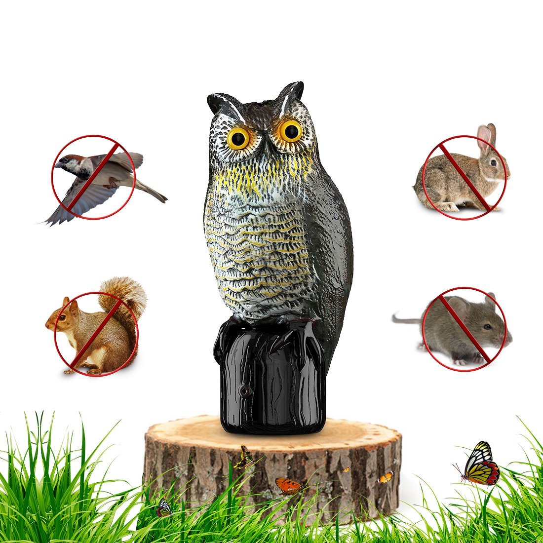 Premium Bird Repellent Fake Owl Decoy for Garden 16 in. tall – Motion Activated & Solar Powered Scarecrow Diverter - Flashing Eyes & Frightening Sound – For Birds, Mice, Squirrels, Rabbits & more