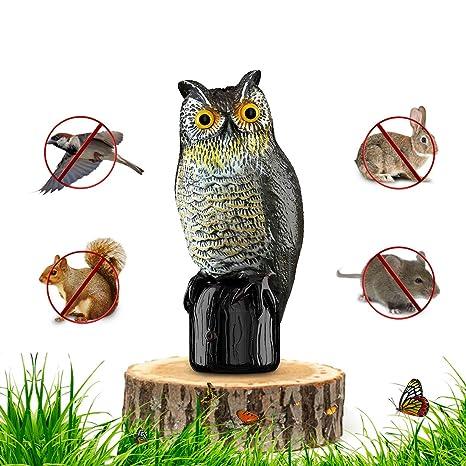 Premium Bird Repellent Fake Owl Decoy For Garden 16 In. Tall U2013 Motion  Activated U0026