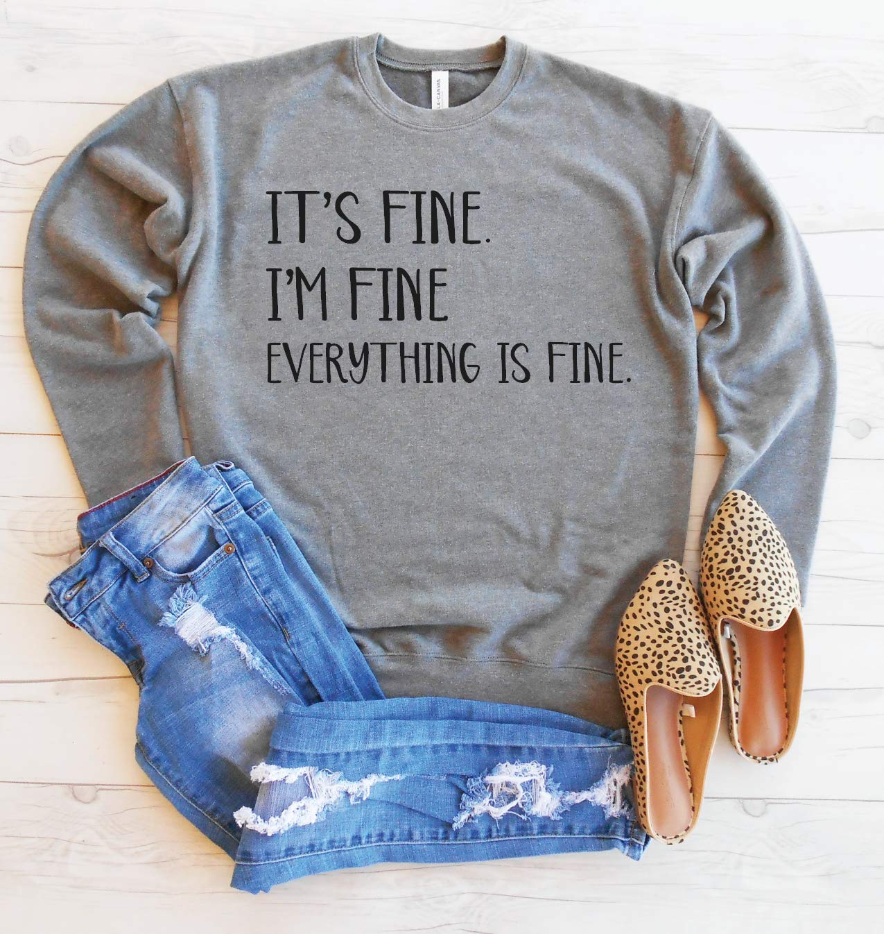 It S Fine I M Fine Everything Is Fine Sweater It S Fine Pullover Cute Mom Sweatshirt Funny Graphic Pullover Unisex Drop Shoulder Sweatshirt Sarcastic Sweatshirt Handmade
