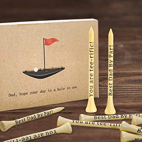 Father's Day Gifts - Dad Gifts, Best Dad By Par, You are tee-rific, 3-1/4 inch Wood Tall Golf Tees Bulk, Birthday Gifts for Dad from Daughter Son Kids, Wooden Present Ideas for Men Step-dad Grandpa