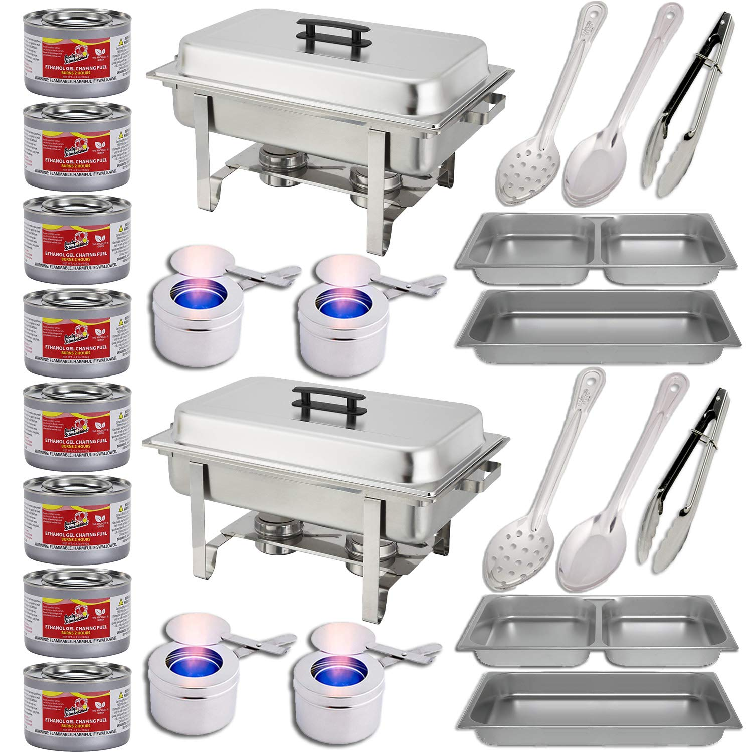 Chafing Dish Buffet Set w/Fuel - Divided pan (4qt x 2)+ Full Pan (8 qt) Water Pan + Frame + Fuel Holders + 8 Fuel Cans + Two 15'' spoons + Two 11'' Spoons + Two 9'' tongs - Two Full Warmer kits