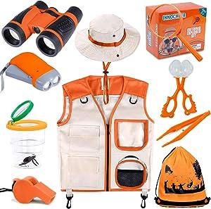 INNOCHEER Explorer Kit & Bug Catcher Kit for Kids Outdoor Exploration with Vest, Binocular, Magnifying Glass, Hand-Crank Flashlight, Whistle, Bug Collector, Bag for Boys Girls (Orange)
