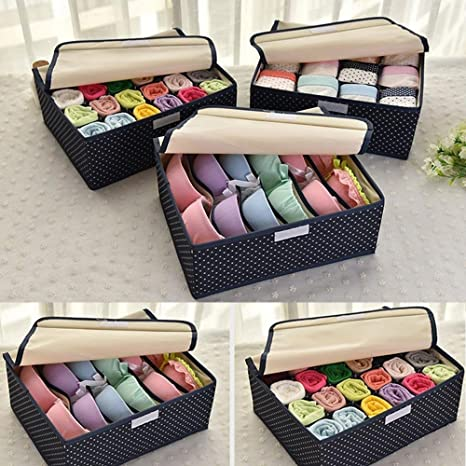 Shag High Quality Collapsible Underwear Drawers Sock Storage Boxes Bra  Organizers Set Of 3 Drawer Dividers