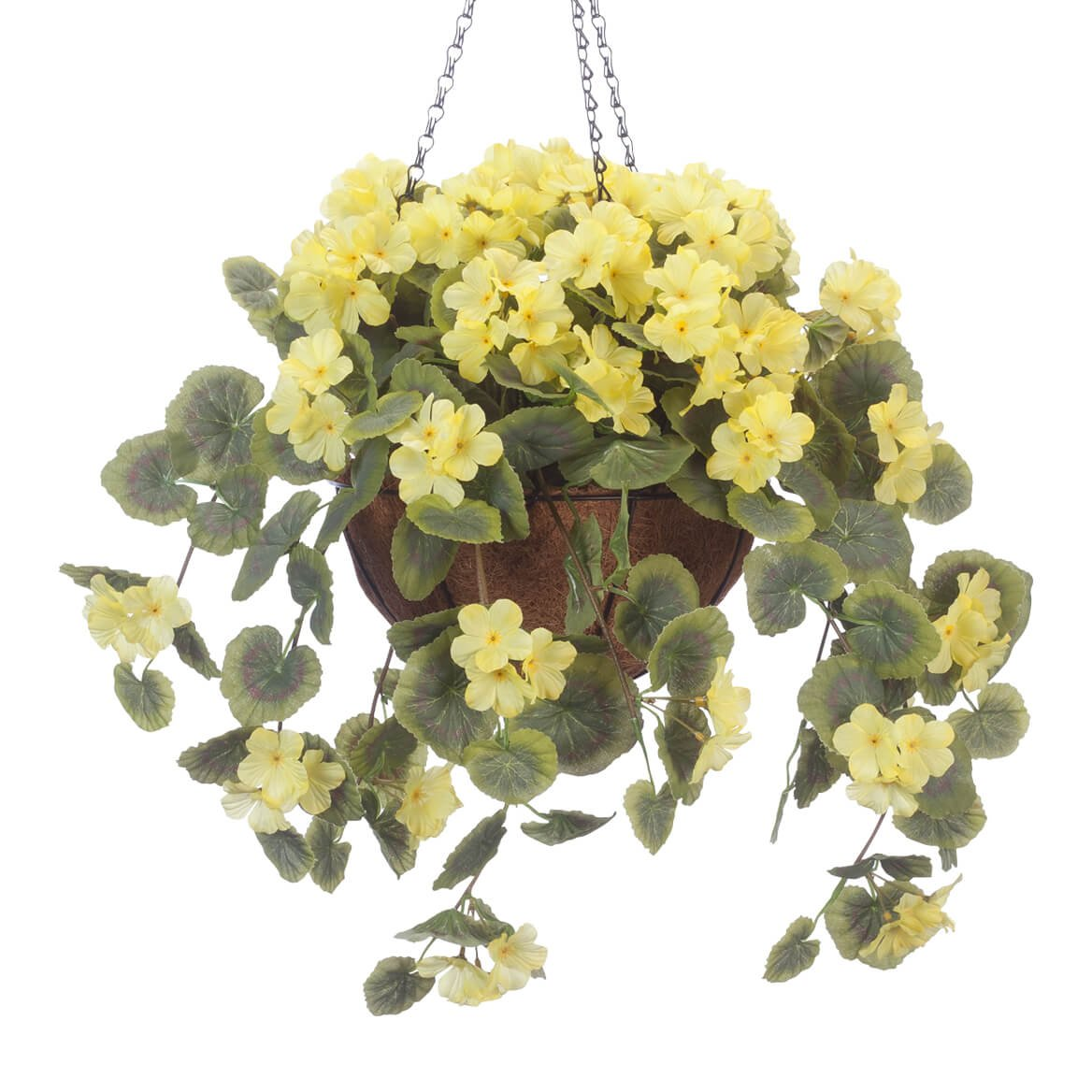 OakRidge Miles Kimball Fully Assembled Artificial Geranium Hanging Basket, 10 Diameter and 18 Chain Yellow Polyester Plastic Flowers in Metal and Coco Fiber Liner Basket for Indoor Outdoor Use