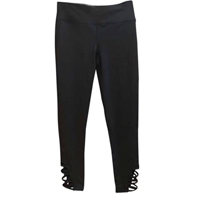 Mono B Black Crisscross Yoga Pants NOT See Through Strappy ...