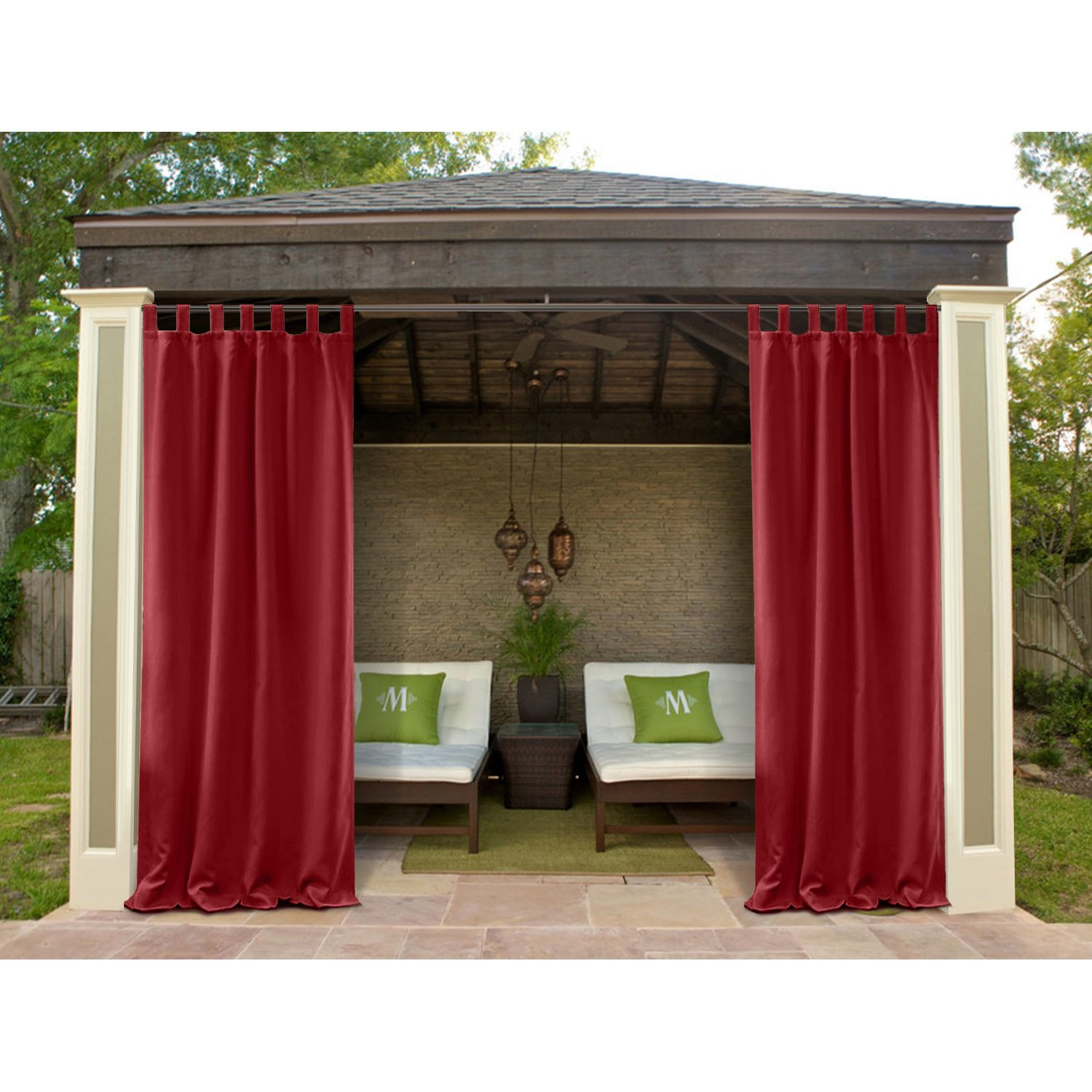 Macochico 120Wx 96L Outdoor Extra Wide Waterproof Curtains Panels Privacy Protection Thermal Insulated Dustproof Noise Buffer for Bedroom Living Room Patio Garden Gazebo Red (1 Panel)