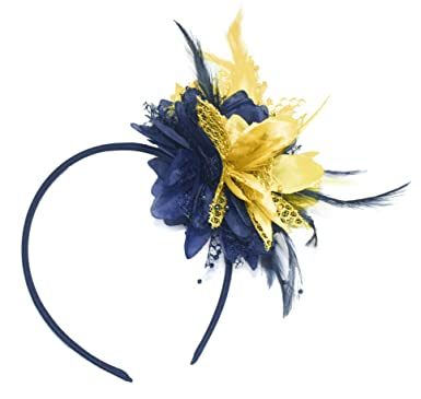 Navy Blue and Gold Fascinator on Headband for Ascot Weddings  Amazon ... bcfcf76ef9e
