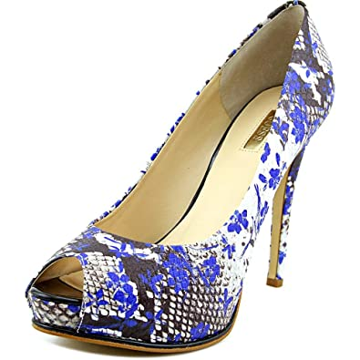 Amazon.com | GUESS Women's Honora White Multi/Rich Cobalt Pump 8 M | Pumps