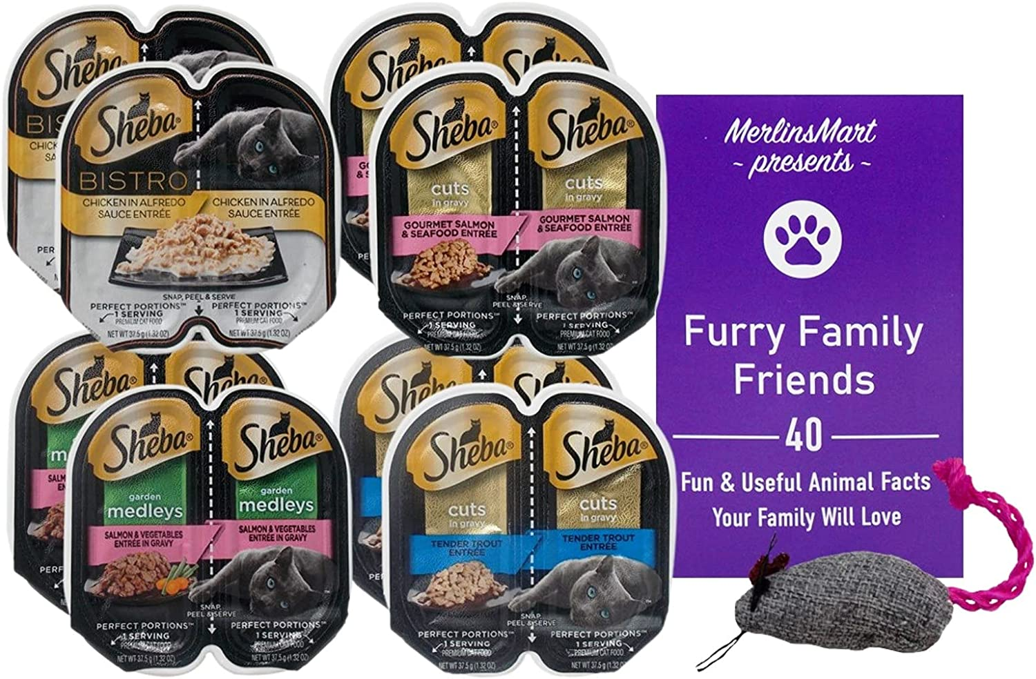 Sheba Perfect Portions Cuts in Gravy Bistro Medleys Cat Food 4 Flavor 8 Can Variety Sampler, (2) Each: Chicken, Salmon Seafood, Salmon, Trout (2.6 Ounces) Plus Catnip Toy and Fun Facts Booklet Bundle
