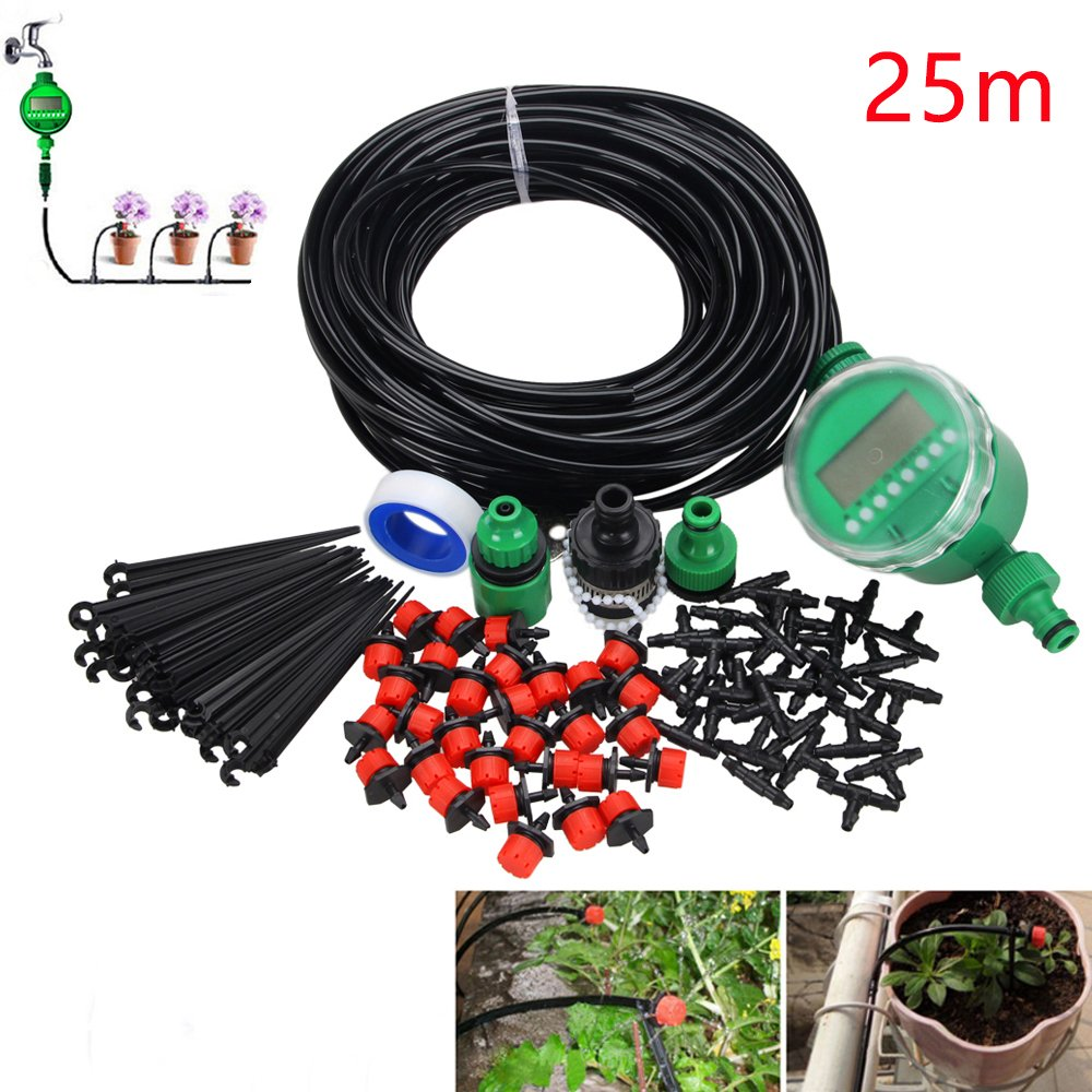 25M/82ft 4mm Irrigation System Include Watering Timmer, Garden Automatic Watering Kit, Easy Drip Micro Kit for Garden Landscape, Flowerbed Patio, Greenhouse, Plants (30Pcs 25M Drippers & Irrigation Timer) VastFire