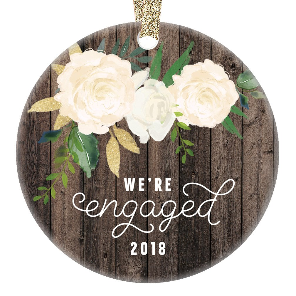 We're Engaged Christmas Ornament 2018 Gifts for the Bride to Be Couple Engagement 1st Xmas Tree Present Unique Home Decor Idea 3