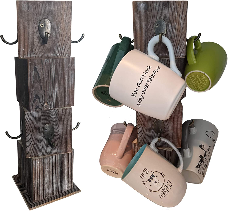 Jalebi Wooden Rustic Coffee Mug Holder with 8 Hooks - Wooden Mug Tree - Rustic Farmhouse Kitchen Counter Storage
