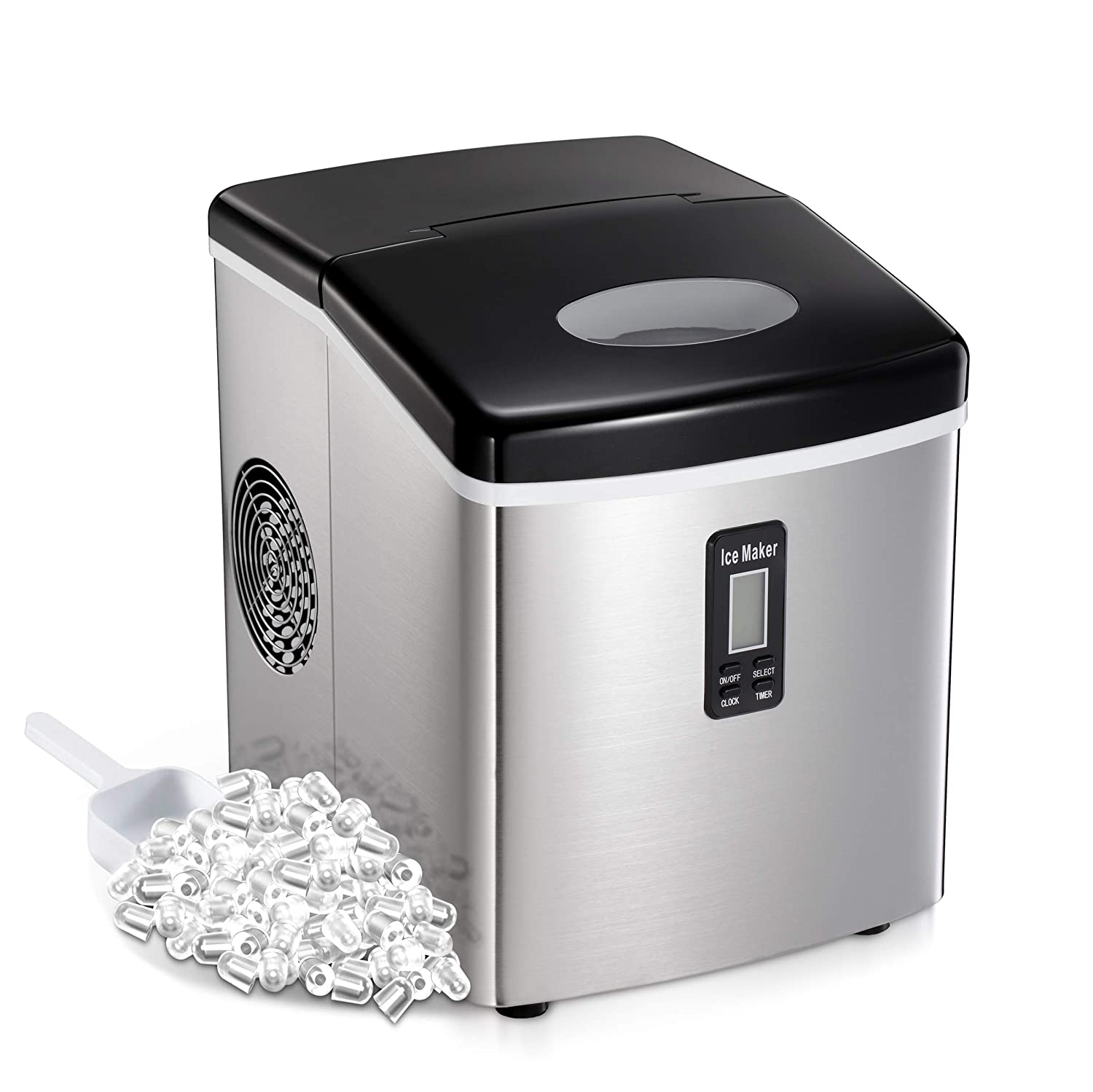 AGLUCKY Countertop Ice Maker Machine,Portable Automatic Ice Maker,Ice Cube Ready in 7mins,2.6Lb Ice Storage,48lbs/24h,Ice Scoop,Basket,Self-clean Function,See-through Lid,Stainless Steel Cover