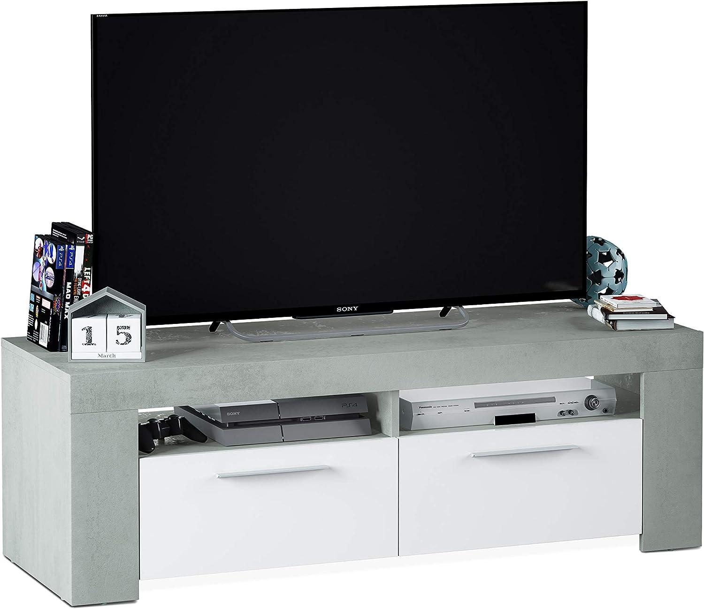 Habitdesign 016621L - Mueble de Comedor Moderno, modulo TV Salon, Modelo Ambit, Acabado en Color Blanco Artik y Gris Cemento, Medidas: 120 cm (Ancho) x 40 cm (Alto) x 42 cm (Fondo): Amazon.es: Hogar