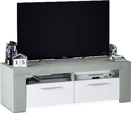 Oferta amazon: Mueble de Comedor Moderno, modulo TV Salon, Modelo Ambit, Acabado en Color Blanco Artik y Gris Cemento, Medidas: 120 cm (Ancho) x 40 cm (Alto) x 42 cm (Fondo)