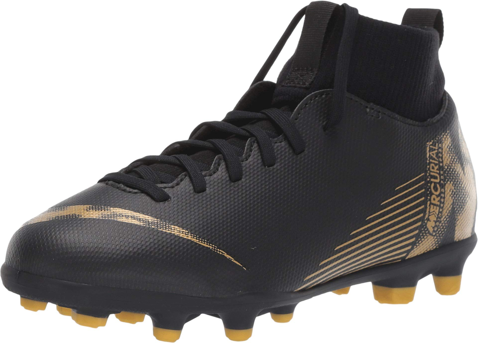 Nike Kids Jr Superfly 6 Club (MG) Soccer Cleat Black/Metallic Vivid Gold Size 4 M US by Nike