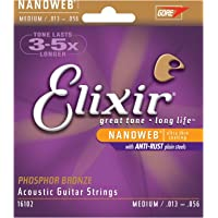 Elixir 16102 Elixir 16102 Nanoweb Coating Phosphor Bronze Acoustic Guitar 6-Strings, Medium .013-.056 Gauges