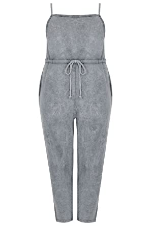 47b5d024106 Yours Clothing Women s Plus Size Limited Collection Acid Wash Jumpsuit Size  30-32 Grey
