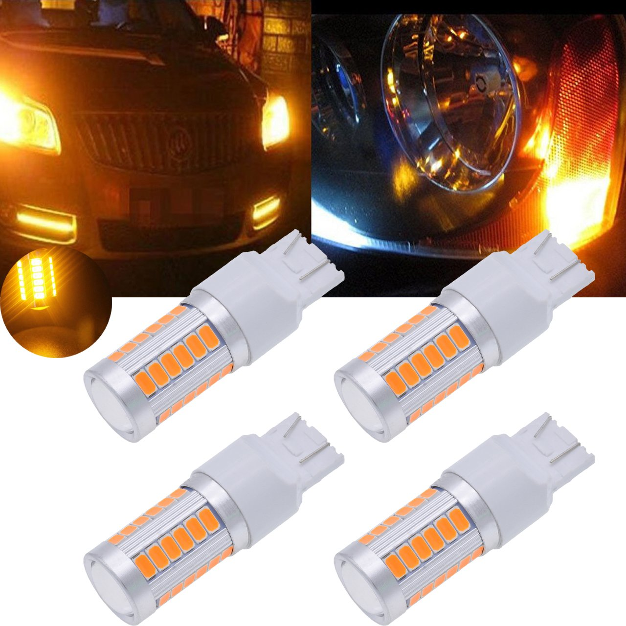 TUINCYN 7440NA, 7441, 992, T20 LED Bulbs Amber Yellow 900 Lumens Super Bright Turn Signals Light Brake Stop Parking Light Back Up Reverse Light Tail Light Bulb DC 12V 3.6W (Pack of 2)