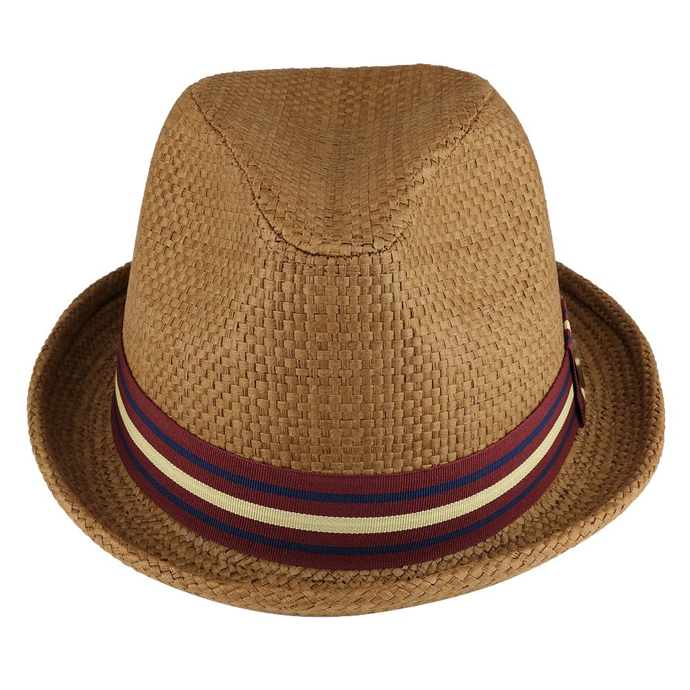 Trendy Apparel Shop Mens Summer Straw Upturned Brim Fedora With Grosgrain Hat Band