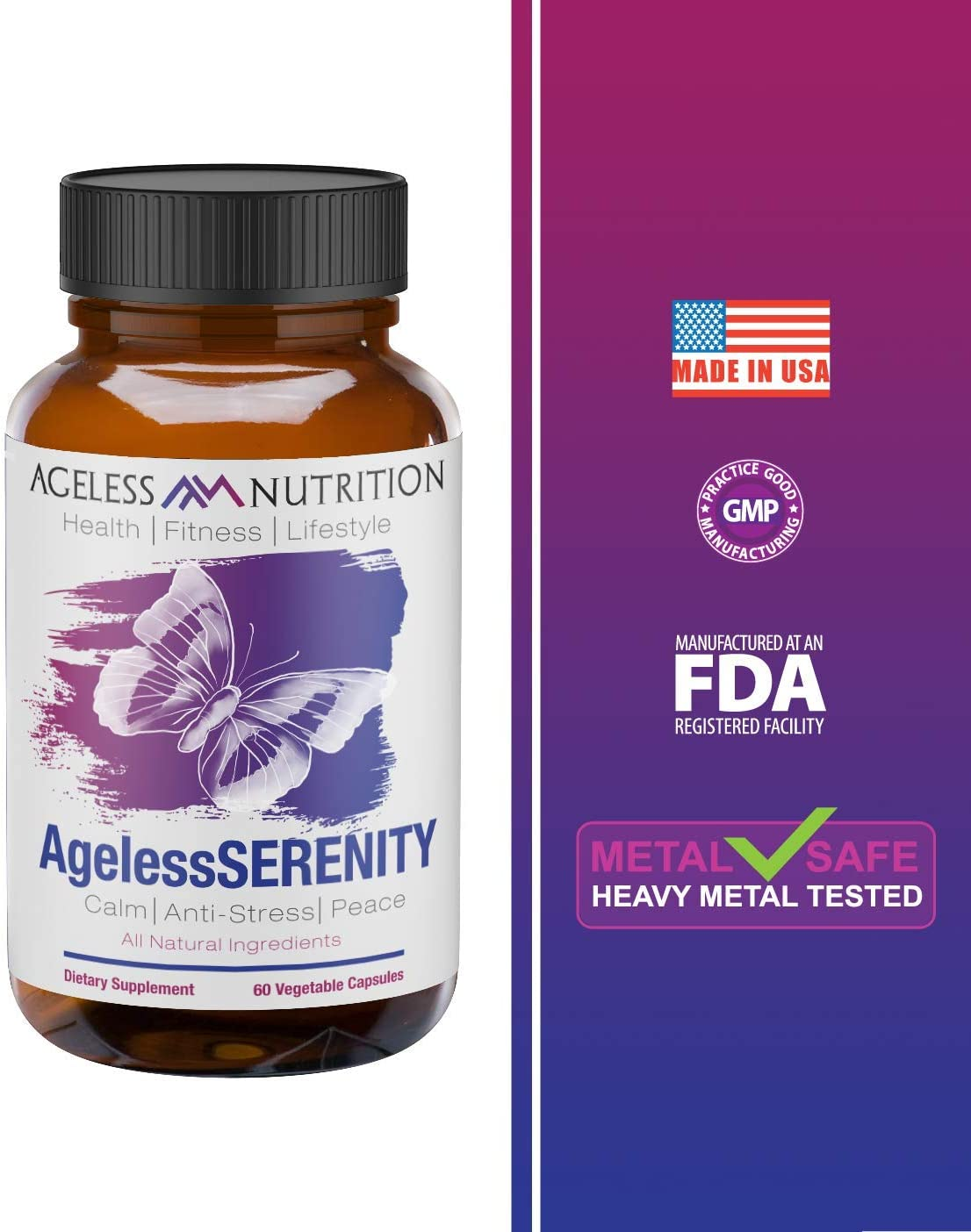 AgelessSERENITY – All-Natural Calm, Stress Relief, and Anti-Anxiety Supplement – Premium Ingredients – Valerian Root, Passionflower, Chamomile, Magnesium, Zinc – 60 Vegetable Capsules