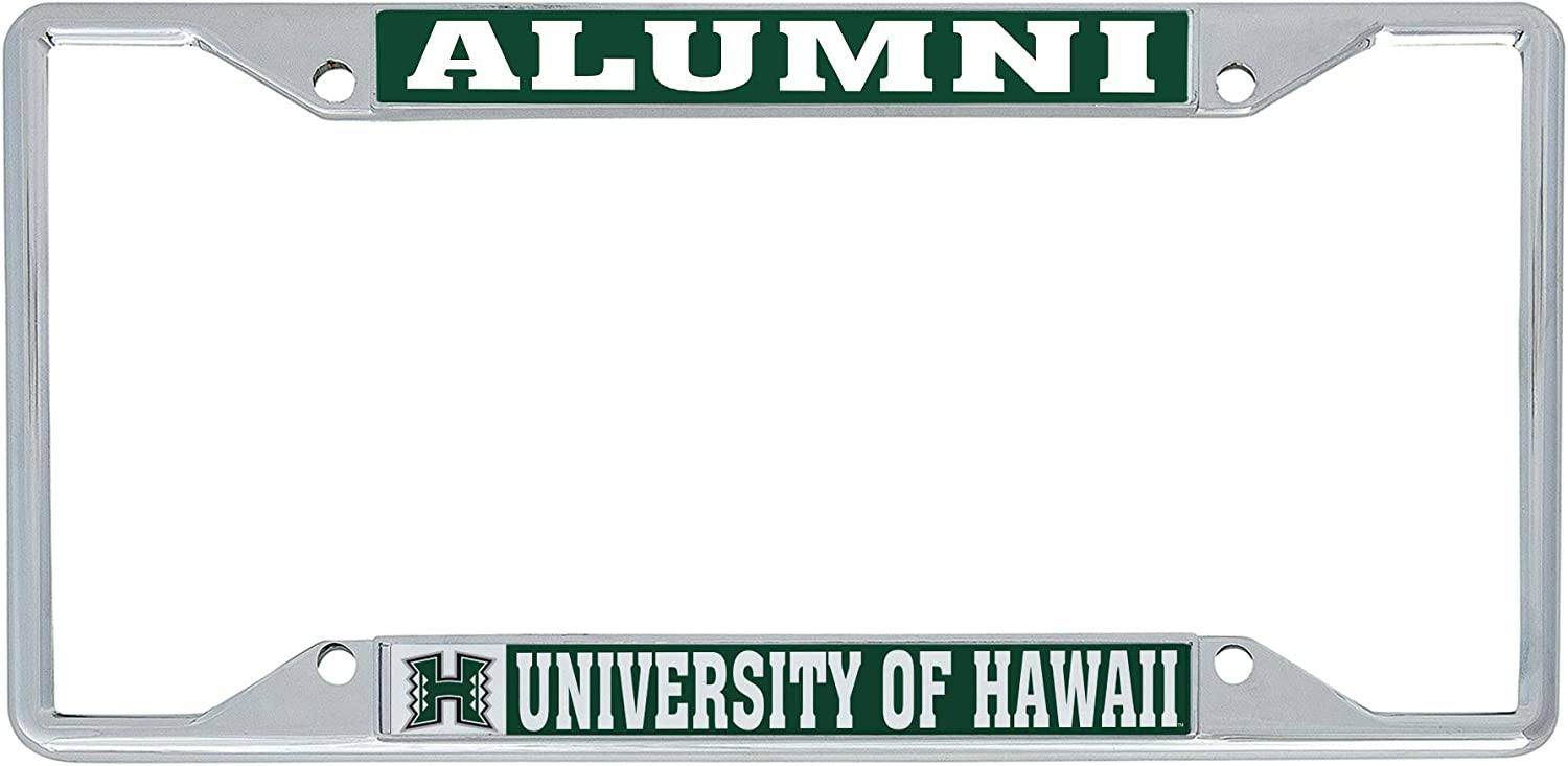 Desert Cactus University of Hawaii Rainbow Warriors NCAA Metal License Plate Frame for Front Back of Car Officially Licensed Alumni
