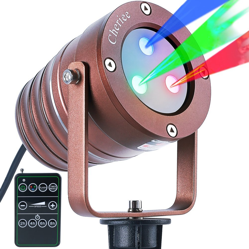 Cheriee Laser Christmas Lights Outdoor Projector Light Star Moving Laser Show Red, Green and Blue Holiday Light Waterproof Landscape Spotlight Aluminum Garden Decorations by CHERIEE (Image #2)
