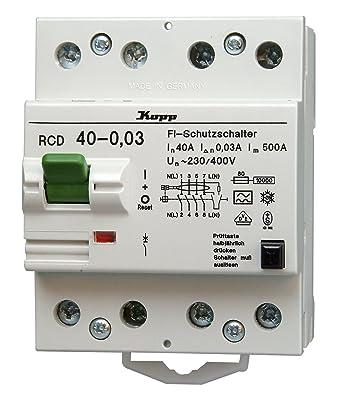 Kopp 754048013 Green Electric Fehlerstromschutzschalter RCD, 40A ...