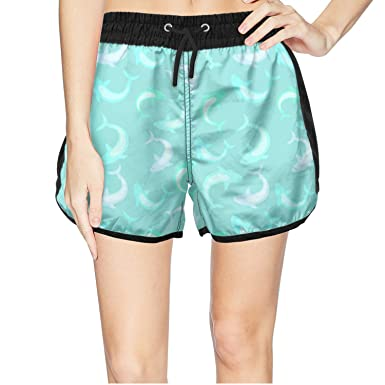 ae5fed3423 Amazon.com: Shark Pictures Green Women Swim Trunks Quick Dry Water ...