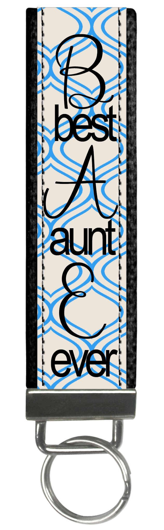 Personalized Trendy Blue BAE Best Aunt Ever Aunt Gift Wristlet Keyfob Keychain