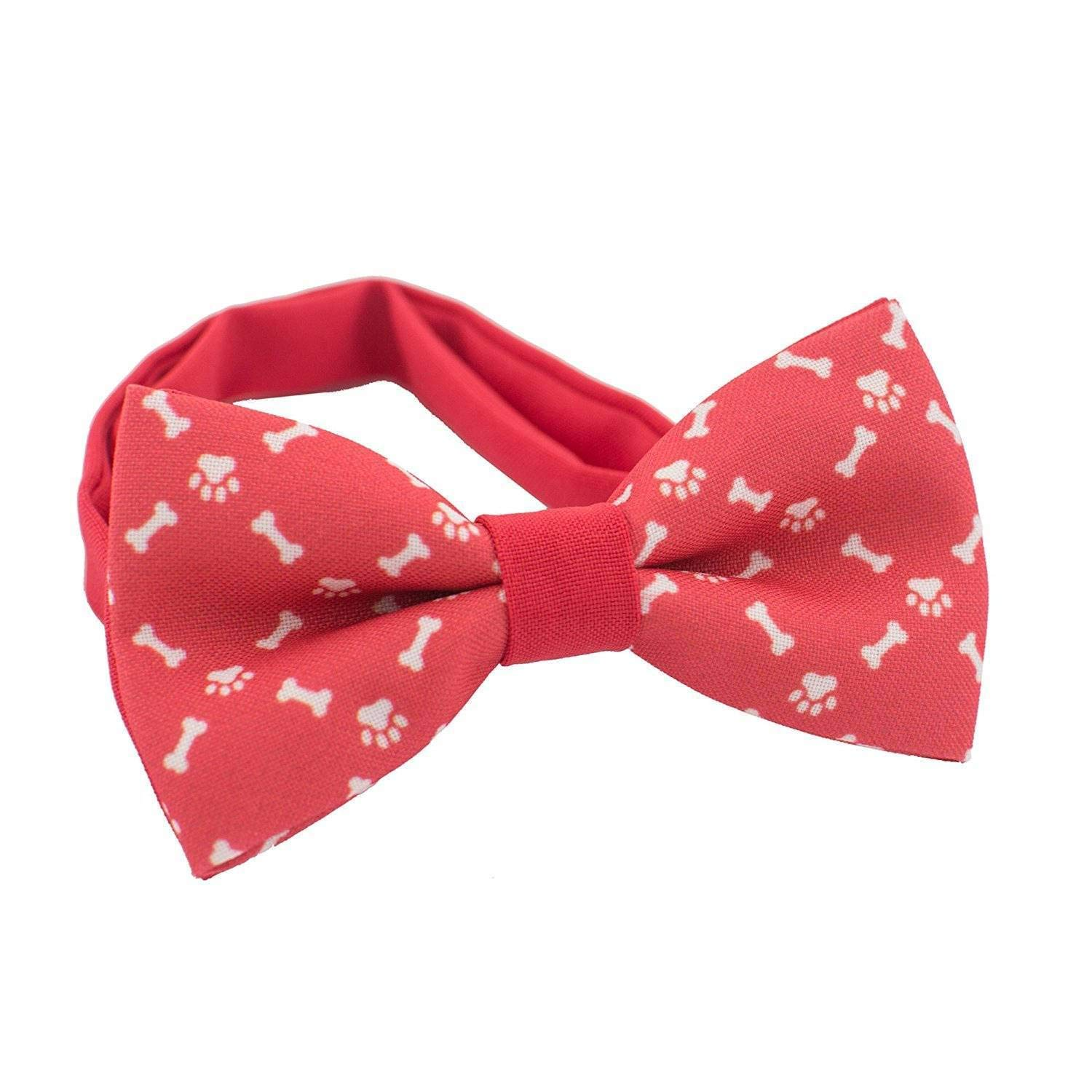 Bow Tie House Dog bones and paws bow tie pattern red pre-tied unisex shape