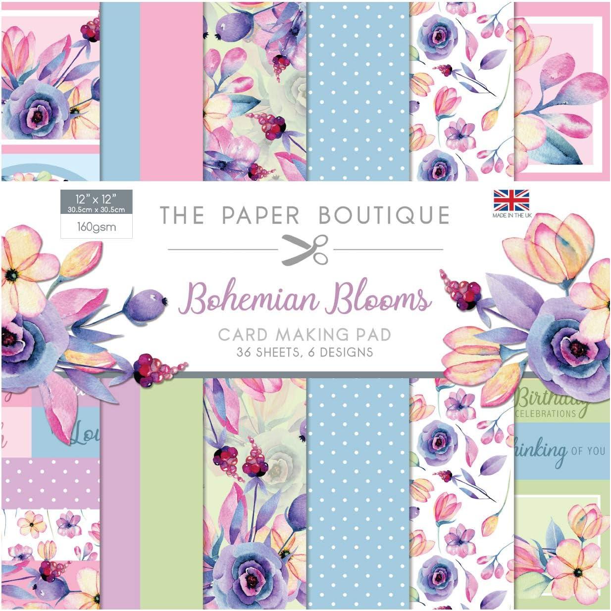 Paper Boutique Bloc /à cartes Motif fleurs de boh/ème 12 x 12 cm