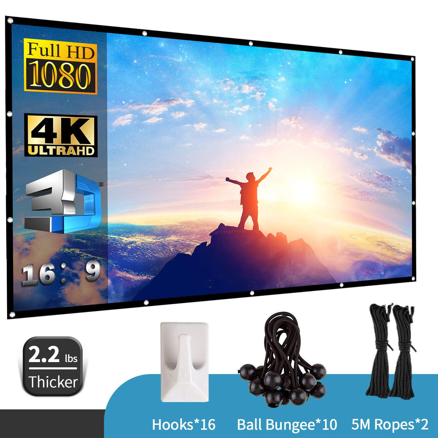 JARLINK 120 Inch Projector Screen,16:9 HD Movies Projector, Portable, Anti-Crease for Home Theater Outdoor or Indoor Support Double Sided Projection