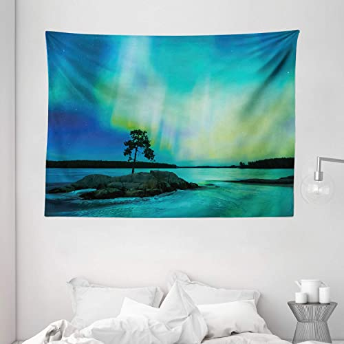 Ambesonne Aurora Borealis Tapestry, Single Tree Over Rocky Stone by River Borealis Earth Beauty Image, Wide Wall Hanging for Bedroom Living Room Dorm, 80 X 60 , Lime Green