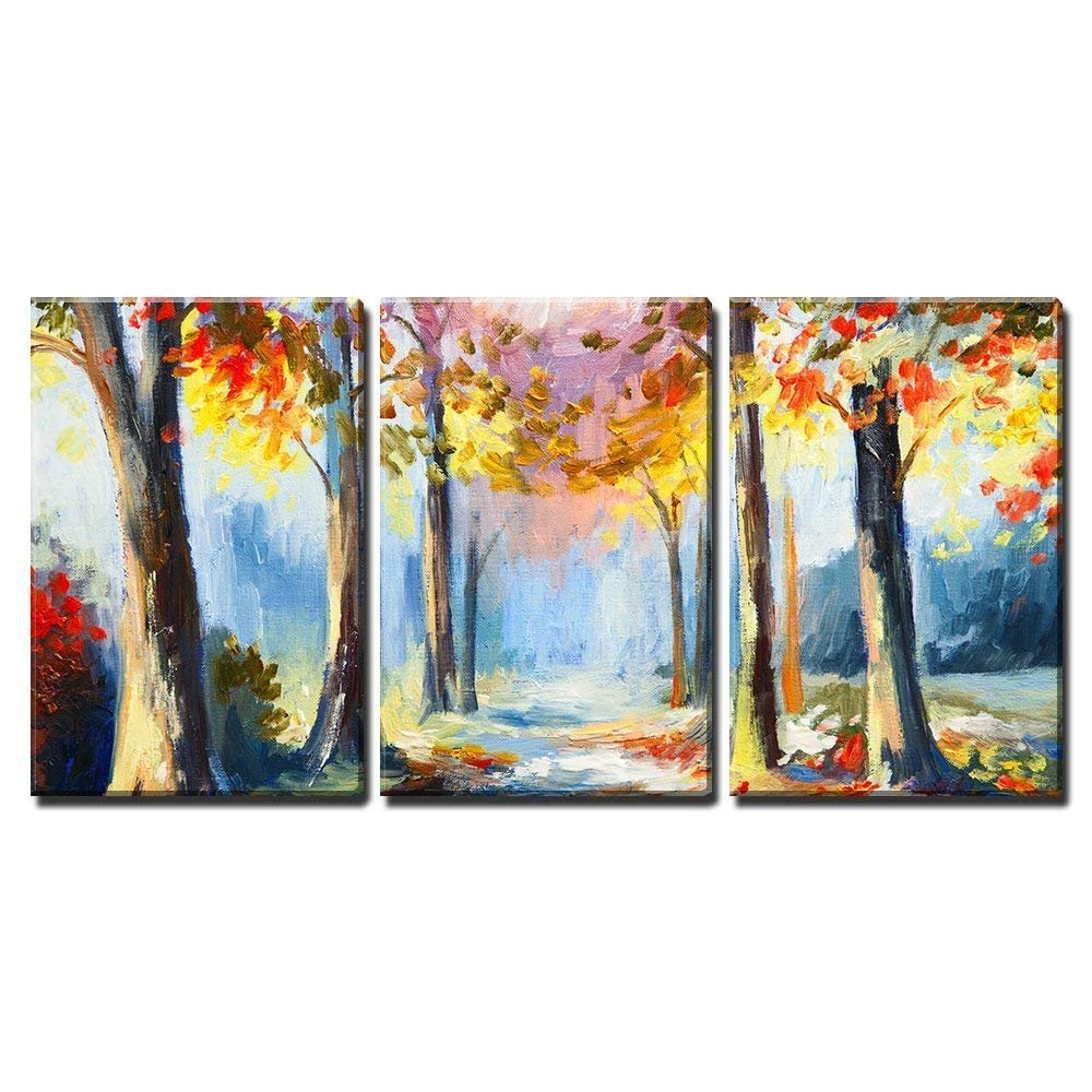 wall26 - 3 Piece Canvas Wall Art - Oil Painting - Colorful Spring Landscape, Road in the Forest, Abstract Watercolor - Modern Home Decor Stretched and Framed Ready to Hang - 24''x36''x3 Panels