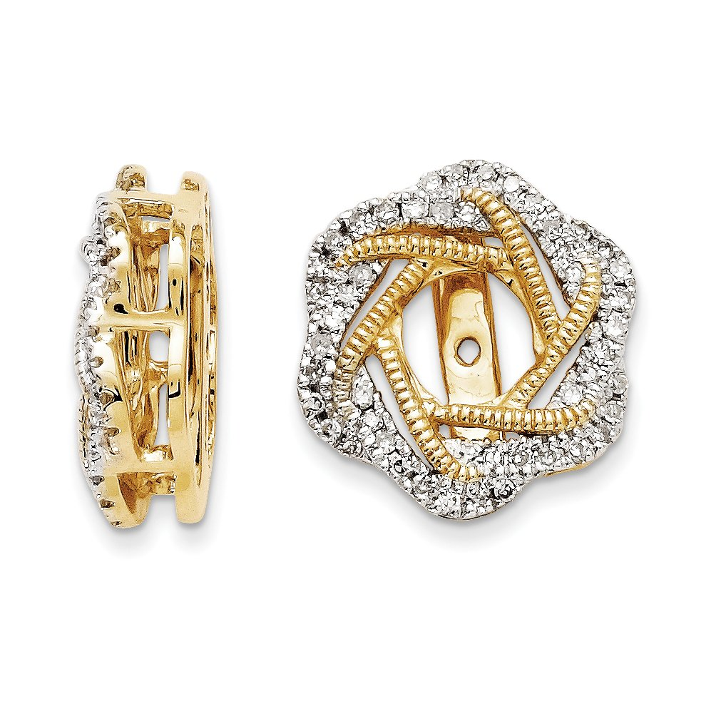 ICE CARATS 14k Yellow Gold Diamond Jacket Earrings Fine Jewelry Gift Set For Women Heart