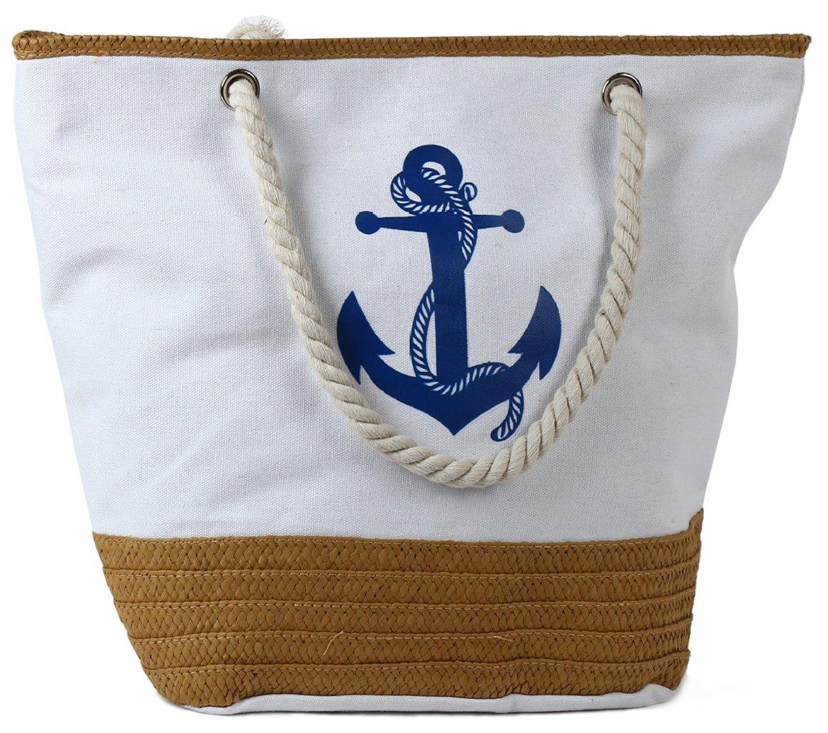 Pulama Womens Large Beach Tote Canvas Shoulder Bag Wave Striped Anchor Summer Handbag Top Handle Bag Straw Beach Bag (Cool Anchor Chalk)