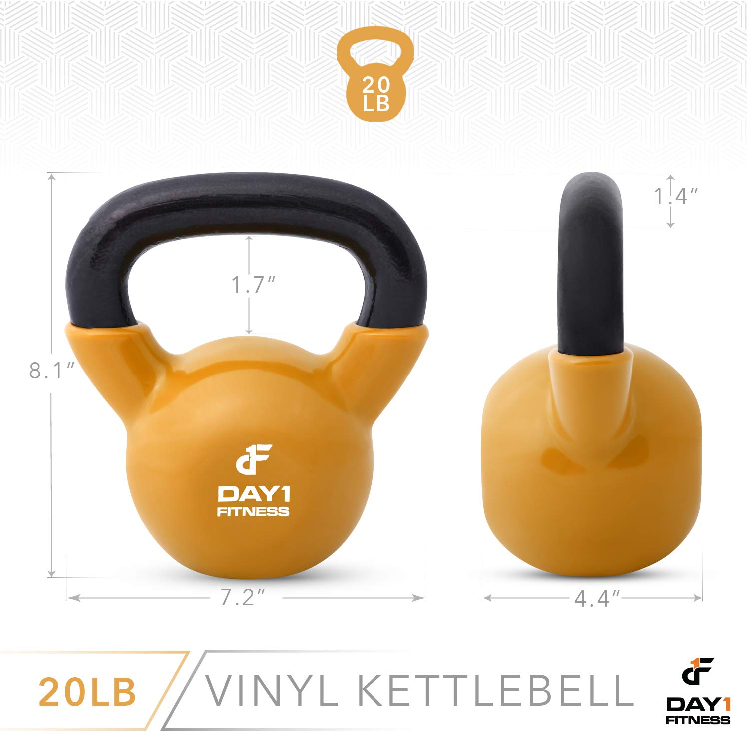 Day 1 Fitness Kettlebell Weights Vinyl Coated Iron 20 Pounds - Coated for Floor and Equipment Protection, Noise Reduction - Free Weights for Ballistic, Core, Weight Training by Day 1 Fitness (Image #3)