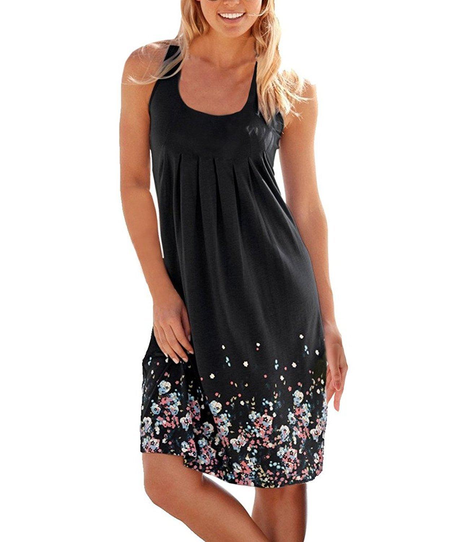 koobea Sundresses for Women Casual Loose Dresses Sleeveless Beach Print Dress Black X-Large