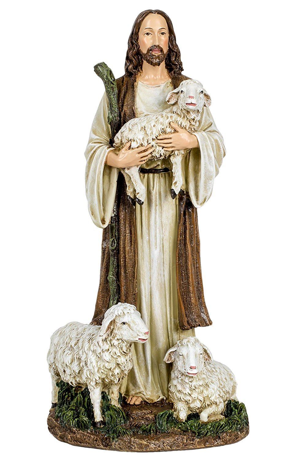 Shepherd With Sheep Friends Golden Ivory 6 x 12 Resin Stone Tabletop Figurine