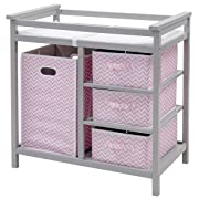 Costzon Baby Changing Table, Diaper Storage Nursery Station with Hamper and 3 Baskets (Gray+Pink)