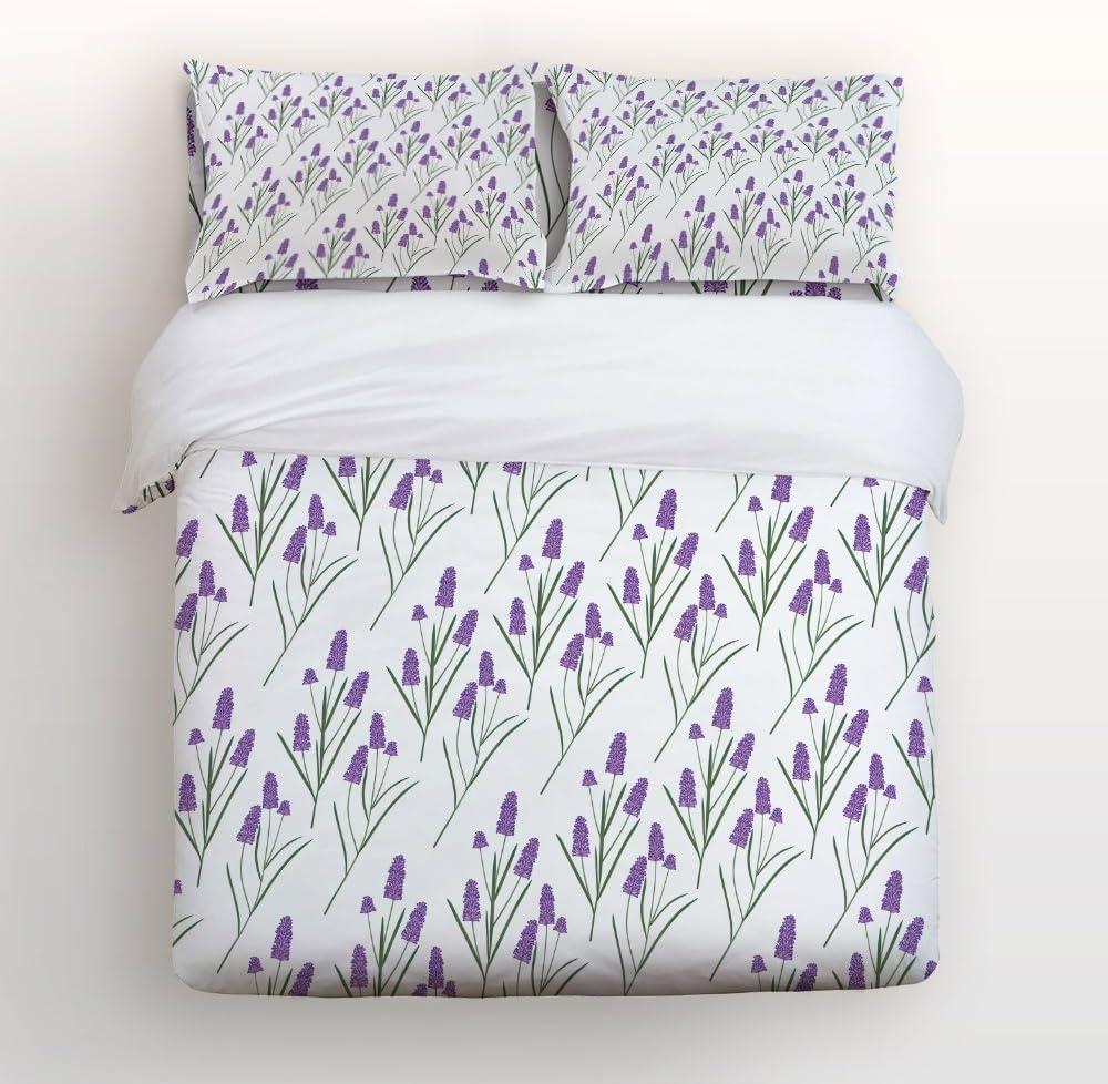 Amazon Com Z L Home Full Size Bedding Sets Purple Decor Lavender Plants Floral Luxury Soft Duvet Cover Set Bedspread For Women Girls Home Kitchen