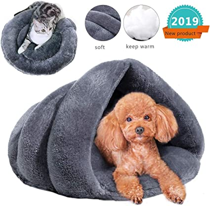 aingycy Cat Cave Small Dog Bed Cave Self Warming Cat Bed Fleece Cat Bed Cave Dog Cave Warm Pet Cave for Indoor Small Dogs and Cats