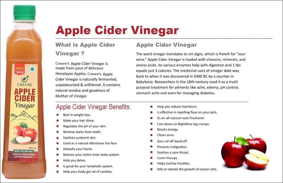 Creure Apple Cider Vinegar Raw Natural Help To Reduce Blood Cholesterol And Etc 500 Ml Amazon In Health Personal Care