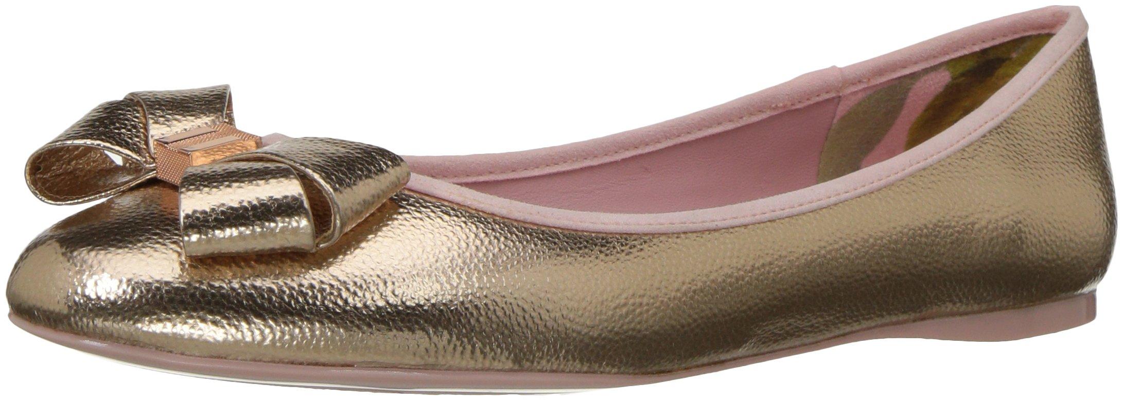 Ted Baker Women's Immet Ballet Shoe, Rose Gold New Bow, 6.5 M US
