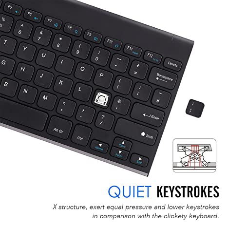 fdeec96d73b ARTECK 2.4G Wireless Keyboard Stainless Steel Ultra Slim Full Size Keyboard  for Computer/Desktop/PC/Laptop/Surface/Smart TV and Windows 10/8 / 7 Built  in ...