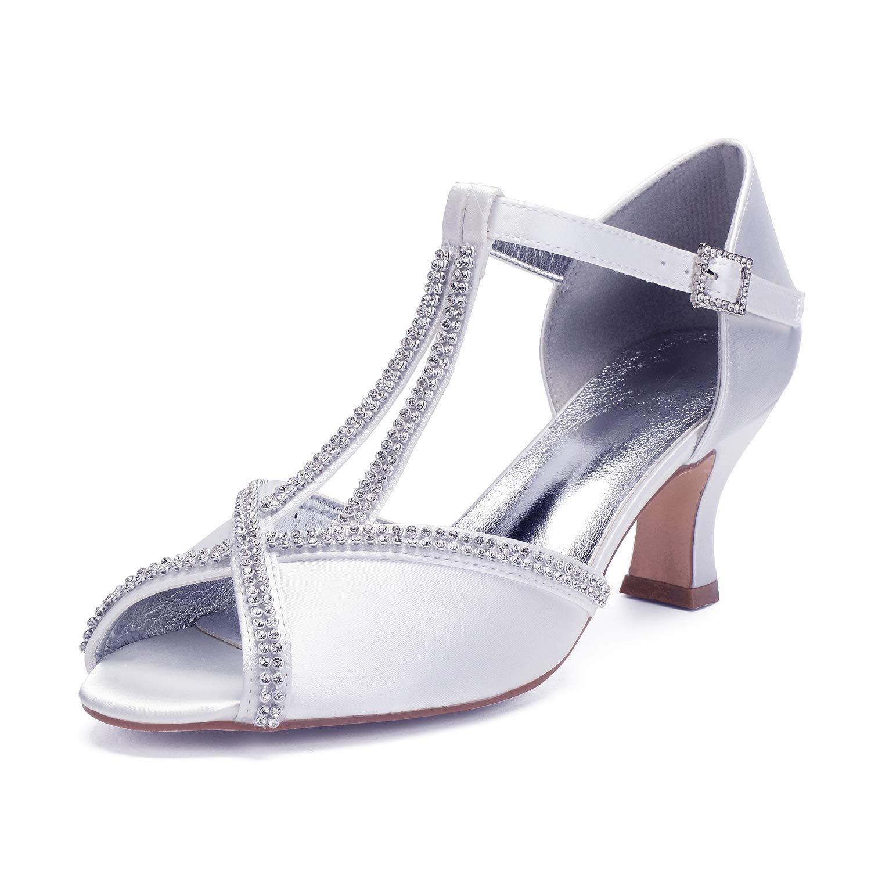 Weiß Elobaby Frauen Braut Peep Toe Hochzeit Schuhe Plattform Satin Kätzchen High Heels Strass Schnalle Spitze   6,5 cm Ferse