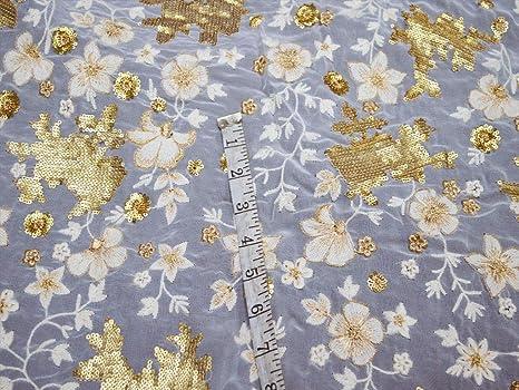Tela bordada con lentejuelas de color dorado para máquina de coser ...
