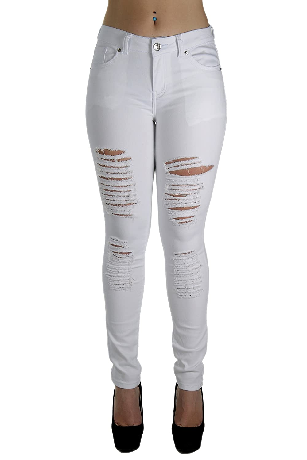 CH051R-P- Plus Size Fashion Colored Jeans Destroyed Ripped