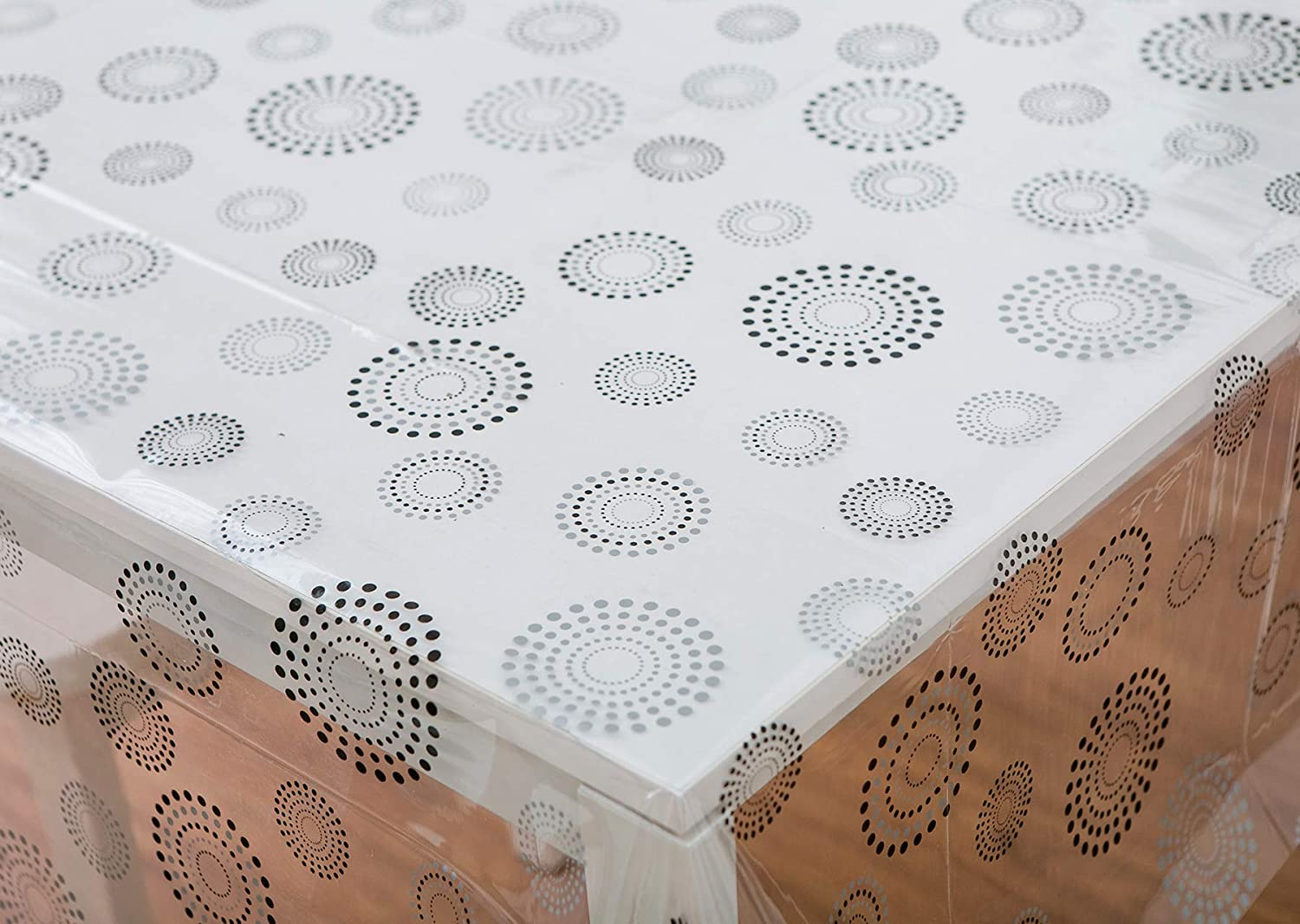 Vinylla Firework Circles Easy Wipe Clean Clear Vinyl Tablecloth